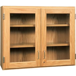 "Diversified Woodcrafts Oak Glass Door Wall Storage Cabinet - 48""W x 30""H(Diversified Woodcrafts DIV-D06-4812)"