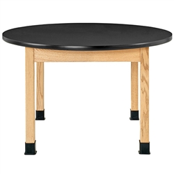 "Diversified Woodcrafts Oak Round Science Table - Phenolic Resin Top - 48"" Dia (Diversified Woodcrafts DIV-P7484K30N)"