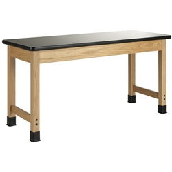 "Diversified Woodcrafts Oak Science Lab Table w/ Epoxy Resin Top - 60"" W x 42"" D(Diversified Woodcrafts DIV-P7906K30L)"