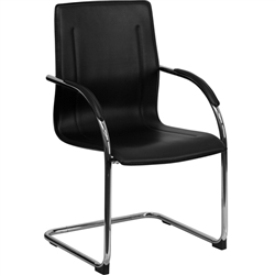 Flash Furniture Black Vinyl Side Chair with Chrome Sled Base<br>(FLA-BT-509-BK-GG)