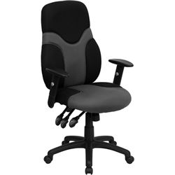 Flash Furniture High Back Ergonomic Black and Gray Mesh Task Chair with Adjustable Arms<br>(FLA-BT-6001-GYBK-GG)