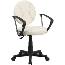 Flash Furniture Baseball Task Chair with Arms<br>(FLA-BT-6179-BASE-A-GG)