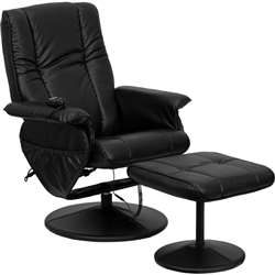 Flash Furniture Massaging Black Leather Recliner and Ottoman with Leather Wrapped Base<br>(FLA-BT-7600P-MASSAGE-BK-GG)