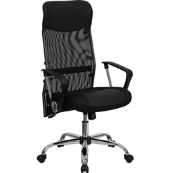 Flash Furniture High Back Black Split Leather Chair with Mesh Back<br>(FLA-BT-905-GG)