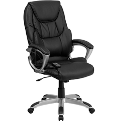Flash Furniture High Back Massaging Black Leather Executive Office Chair with Silver Base<br>(FLA-BT-9806HP-2-GG)