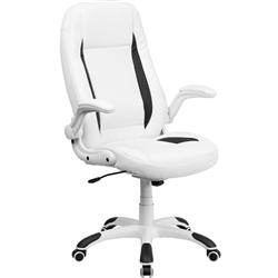 Flash Furniture High Back White Leather Executive Office Chair with Flip-Up Arms<br>(FLA-CH-CX0176H06-WH-GG)