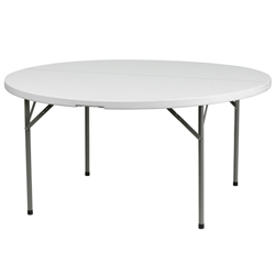Flash Furniture 60'' Granite White Round Plastic Folding Table<br>(FLA-DAD-YCZ-154-GW-GG)