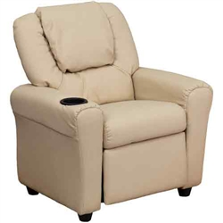 Flash Furniture Contemporary Beige Vinyl Kids Recliner with Cup Holder and Headrest<br>(FLA-DG-ULT-KID-BGE-GG)