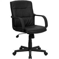 Flash Furniture Mid-Back Black Leather Office Chair with Nylon Arms<br>(FLA-GO-228S-BK-LEA-GG)