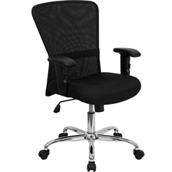 Flash Furniture Mid-Back Black Mesh Contemporary Computer Chair with Adjustable Arms and Chrome Base<br>(FLA-GO-5307B-GG)