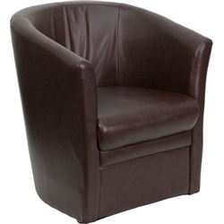 Flash Furniture Brown Leather Barrel-Shaped Guest Chair<br>(FLA-GO-S-01A-BN-FULL-GG)