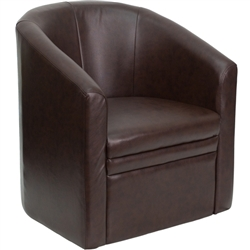 Flash Furniture Brown Leather Barrel-Shaped Guest Chair<br>(FLA-GO-S-03-BN-FULL-GG)
