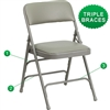 Flash Furniture HERCULES Series Curved Triple Braced & Quad Hinged Upholstered Metal Folding Chair<br>(FLA-HA-MC309AF-GG)