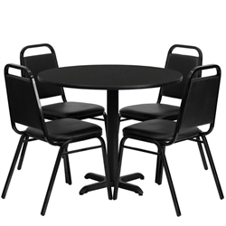 Flash Furniture 36'' Round Laminate Table Set with 4 Black Trapezoidal Back Banquet Chairs<br>(FLA-HDBF-A-GG)