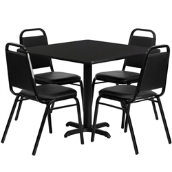 Flash Furniture 36'' Square Laminate Table Set with 4 Black Trapezoidal Back Banquet Chairs<br>(FLA-HDBF-C-GG)