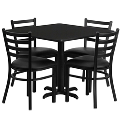 Flash Furniture 36'' Square Laminate Table Set with 4 Ladder Back Metal Chairs - Black Vinyl Seat<br>(FLA-HDBF-D-GG)
