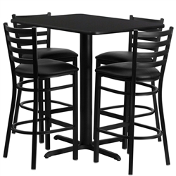 Flash Furniture 24''W x 42''L Rectangular Laminate Table Set with 4 Ladder Back Metal Bar Stools - Black Vinyl Seat<br>(FLA-HDBF-E-GG)