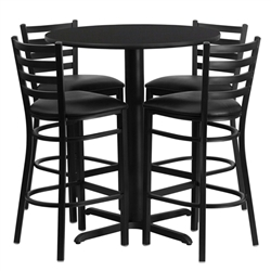 Flash Furniture 30'' Round Laminate Table Set with 4 Ladder Back Metal Bar Stools - Black Vinyl Seat<br>(FLA-HDBF-F-GG)