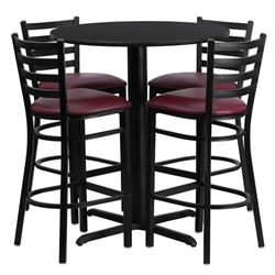 Flash Furniture 30'' Round Laminate Table Set with 4 Ladder Back Metal Bar Stools - Burgundy Vinyl Seat<br>(FLA-HDBF-G-GG)