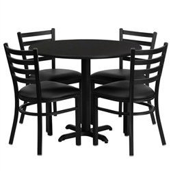 Flash Furniture 36'' Round Laminate Table Set with 4 Ladder Back Metal Chairs - Black Vinyl Seat<br>(FLA-HDBF-H-GG)