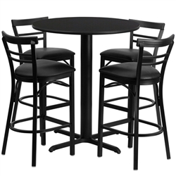 Flash Furniture 24'' Round Laminate Table Set with 4 Ladder Back Metal Bar Stools - Black Vinyl Seat<br>(FLA-HDBF-I-GG)