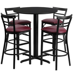 Flash Furniture 24'' Round Laminate Table Set with 4 Ladder Back Metal Bar Stools - Burgundy Vinyl Seat<br>(FLA-HDBF-J-GG)