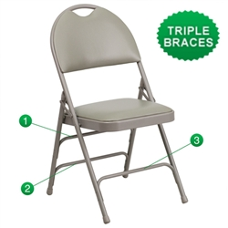 Flash Furniture HERCULES Series Triple Braced & Quad Hinged Metal Folding Chair<br>(FLA-HF3-MC-309AS-GG)