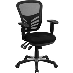 Flash Furniture Mid-Back Black Mesh Chair with Triple Paddle Control<br>(FLA-HL-0001-GG)