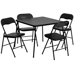 Flash Furniture 5 Piece Black Folding Card Table and Chair Set<br>(FLA-JB-1-GG)