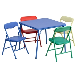 Flash Furniture Kids Colorful 5 Piece Folding Table and Chair Set<br>(FLA-JB-9-KID-GG)