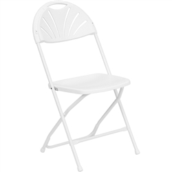 Flash Furniture HERCULES Series 800 lb. Plastic Fan Back Folding Chair<br>(FLA-LE-L-4-WHITE-GG)