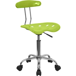 Flash Furniture Vibrant Apple Green and Chrome Computer Task Chair with Tractor Seat<br>(FLA-LF-214-APPLEGREEN-GG)