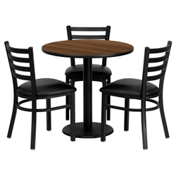 Flash Furniture 30'' Round Walnut Laminate Table Set with 3 Ladder Back Metal Chairs - Black Vinyl Seat<br>(FLA-MD-0002-GG)