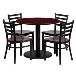 Flash Furniture 36'' Round Mahogany Laminate Table Set with 4 Ladder Back Metal Chairs - Mahogany Wood Seat<br>(FLA-MD-0004-GG)