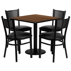 Flash Furniture 30'' Square Walnut Laminate Table Set with 4 Grid Back Metal Chairs - Black Vinyl Seat<br>(FLA-MD-0004-GG)