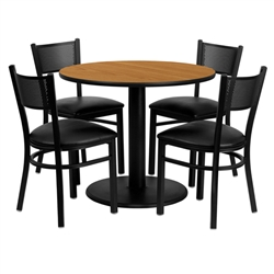 Flash Furniture 36'' Round Natural Laminate Table Set with 4 Grid Back Metal Chairs - Black Vinyl Seat <br>(FLA-MD-0006-GG)