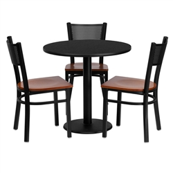 Flash Furniture 30'' Round Black Laminate Table Set with 3 Grid Back Metal Chairs - Cherry Wood Seat<br>(FLA-MD-0007-GG)