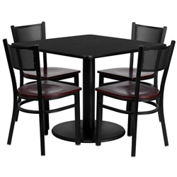 Flash Furniture 36'' Square Black Laminate Table Set with 4 Grid Back Metal Chairs - Mahogany Wood Seat <br>(FLA-MD-0008-GG)