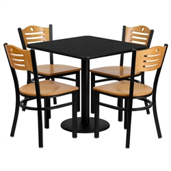 Flash Furniture 30'' Square Black Laminate Table Set with 4 Wood Slat Back Metal Chairs - Natural Wood Seat<br>(FLA-MD-0010-GG)