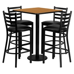 Flash Furniture 30'' Square Natural Laminate Table Set with 4 Ladder Back Metal Bar Stools - Black Vinyl Seat<br>(FLA-MD-0012-GG)