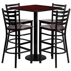 Flash Furniture 30'' Square Mahogany Laminate Table Set with 4 Ladder Back Metal Bar Stools - Mahogany Wood Seat<br>(FLA-MD-0014-GG)