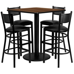 Flash Furniture 36'' Square Walnut Laminate Table Set with 4 Grid Back Metal Bar Stools - Black Vinyl Seat<br>(FLA-MD-0015-GG)