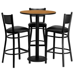 Flash Furniture 30'' Round Natural Laminate Table Set with 3 Grid Back Metal Bar Stools - Black Vinyl Seat <br>(FLA-MD-0016-GG)