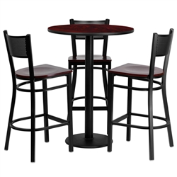 Flash Furniture 30'' Round Mahogany Laminate Table Set with 3 Grid Back Metal Bar Stools - Mahogany Wood Seat<br>(FLA-MD-0017-GG)