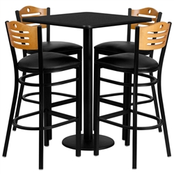 Flash Furniture 30'' Square Black Laminate Table Set with 4 Wood Slat Back Metal Bar Stools - Black Vinyl Seat<br>(FLA-MD-0019-GG)