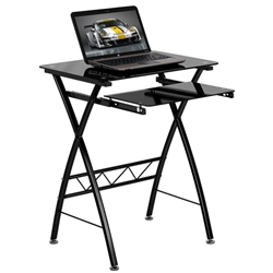 Flash Furniture Tempered Glass Computer Desk with Pull-Out Keyboard<br>(FLA-NAN-CP-60-GG)