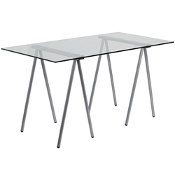 Flash Furniture Glass Computer Desk with Silver Frame<br>(FLA-NAN-JN-2119-GG)