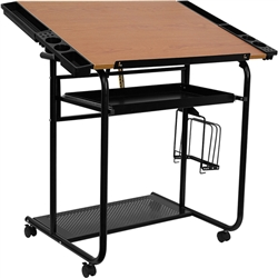 Flash Furniture Adjustable Drawing and Drafting Table with Black Frame and Dual Wheel Casters<br>(FLA-NAN-JN-2739-GG)