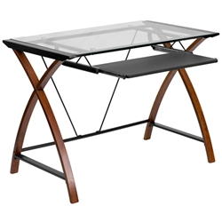 Flash Furniture Cherry Computer Desk with Black Frame<br>(FLA-NAN-JN-2824S-GG)