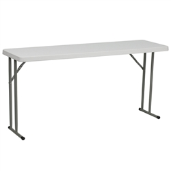 Flash Furniture 18''W x 60''L Granite White Plastic Folding Training Table<br>(FLA-RB-1860-GG)